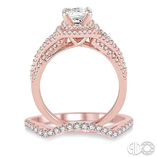 1 1/6 Ctw Diamond Wedding Set with 1 Ctw Princess Cut Engagement Ring and 1/5 Ctw Wedding Band in 14K Rose Gold Image 3 Trinity Diamonds Inc. Tucson, AZ