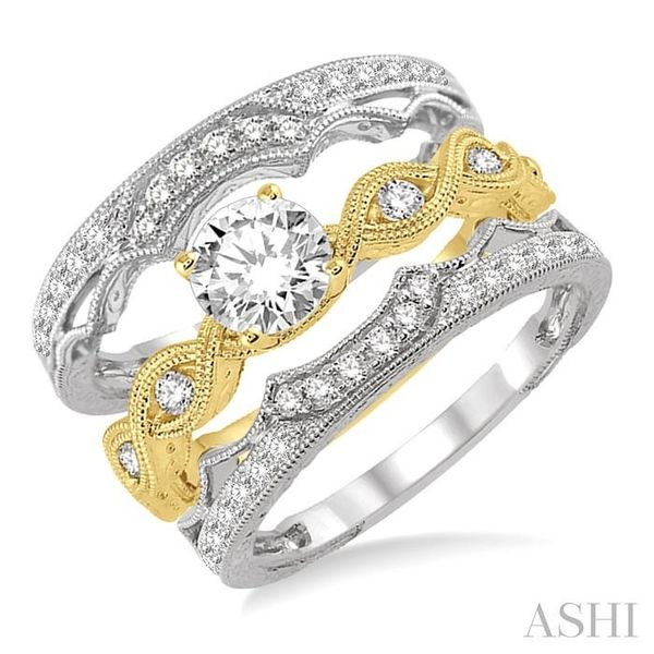 7/8 Ctw Diamond Wedding Set With 1/2 ct Round Center Entwined Engagement Ring and 1/5 ct Twin Wedding Band in 14K Yellow and Whi Trinity Diamonds Inc. Tucson, AZ
