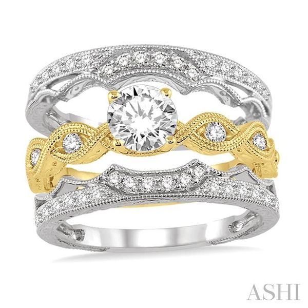 7/8 Ctw Diamond Wedding Set With 1/2 ct Round Center Entwined Engagement Ring and 1/5 ct Twin Wedding Band in 14K Yellow and Whi Image 2 Trinity Diamonds Inc. Tucson, AZ