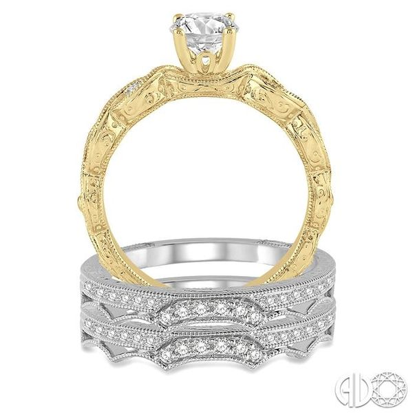 7/8 Ctw Diamond Wedding Set With 1/2 ct Round Center Entwined Engagement Ring and 1/5 ct Twin Wedding Band in 14K Yellow and Whi Image 3 Trinity Diamonds Inc. Tucson, AZ