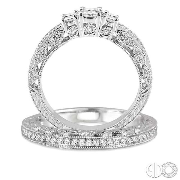 3/4 Ctw Diamond Wedding Set with 1/2 Ctw Round Cut Engagement Ring and 1/6 Ctw Wedding Band in 14K White Gold Image 3 Trinity Diamonds Inc. Tucson, AZ