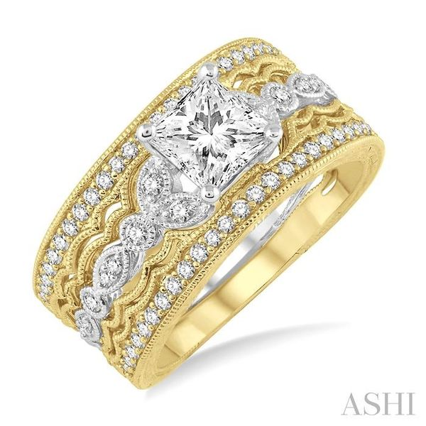 3/4 Ctw Diamond Wedding Set with 1/2 Ctw Princess Cut Engagement Ring and 1/3 Ctw Wedding Band in 14K White and Yellow Gold Trinity Diamonds Inc. Tucson, AZ