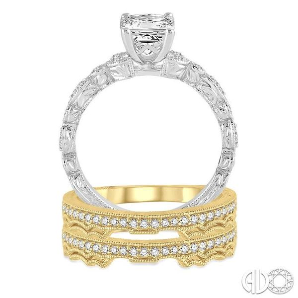 3/4 Ctw Diamond Wedding Set with 1/2 Ctw Princess Cut Engagement Ring and 1/3 Ctw Wedding Band in 14K White and Yellow Gold Image 3 Trinity Diamonds Inc. Tucson, AZ