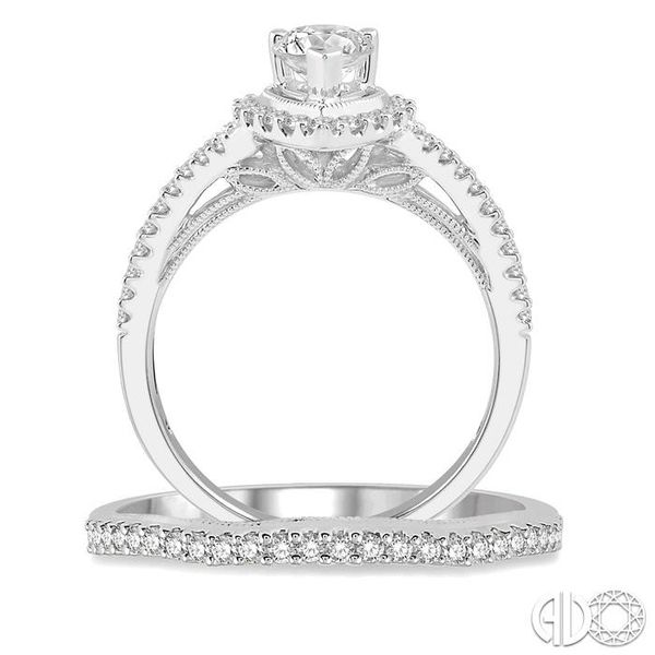 1 1/3 Ctw Diamond Wedding Set With 1 1/6 Ctw Curved Shank Pear Shape Engagement Ring and 1/6 Ctw Wedding Band in 14K White Gold Image 3 Trinity Diamonds Inc. Tucson, AZ