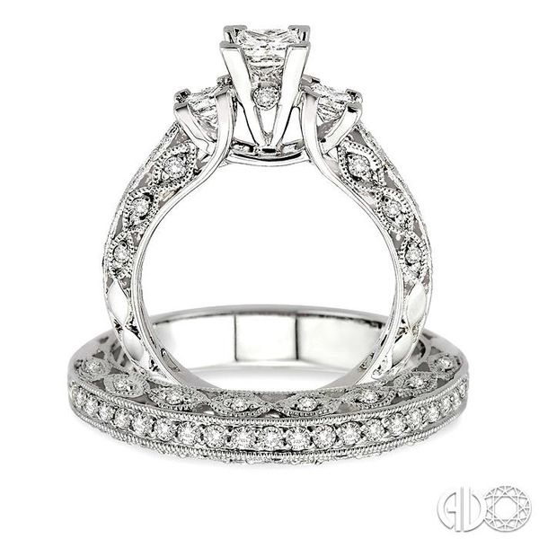 1 1/10 Ctw Diamond Wedding Set with 7/8 Ctw Princess Cut Engagement Ring and 1/4 Ctw Wedding Band in 14K White Gold Image 3 Trinity Diamonds Inc. Tucson, AZ