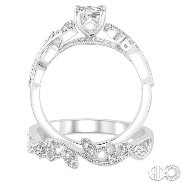 1/3 Ctw Diamond Bridal Set with 1/3 Ctw Princess Cut Engagement Ring and 1/20 Ctw Wedding Band in 14K White Gold Image 3 Trinity Diamonds Inc. Tucson, AZ