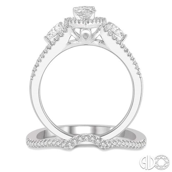 1 Ctw Diamond Wedding Set With 7/8 Ctw Pear Shape Engagement Ring and 1/10 Ctw Arched Center Wedding Band in 14K White Gold Image 3 Trinity Diamonds Inc. Tucson, AZ