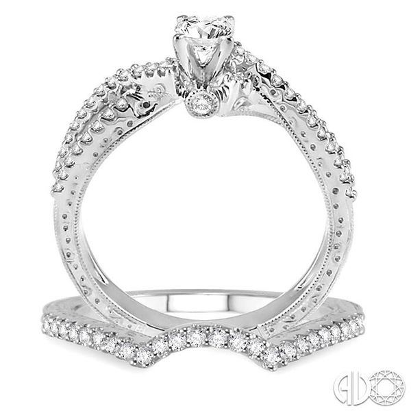 5/8 Ctw Diamond Wedding Set with 1/2 Ctw Round Cut Engagement Ring and 1/8 Ctw Wedding Band in 14K White Gold Image 3 Trinity Diamonds Inc. Tucson, AZ
