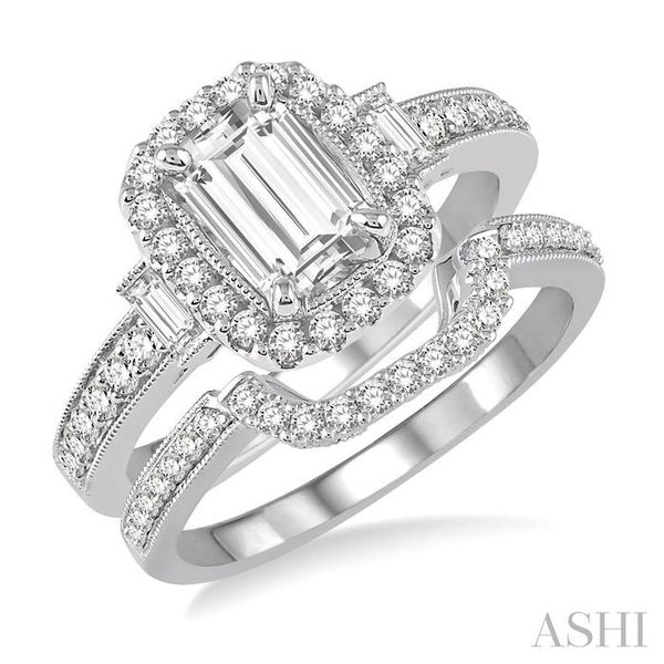 1 Ctw Diamond Wedding Set with 7/8 Ctw Octagon Cut Engagement Ring and 1/6 Ctw Wedding Band in 14K White Gold Trinity Diamonds Inc. Tucson, AZ
