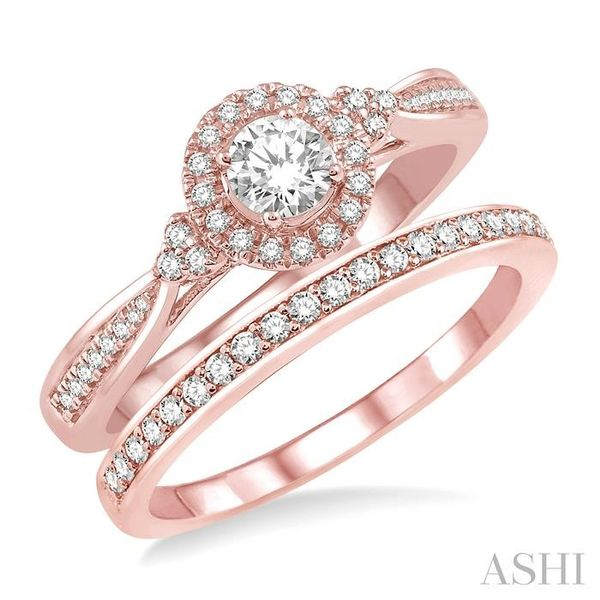 1/2 Ctw Diamond Wedding Set With 3/8 ct Round Center Engagement Ring and 1/10 ct Wedding Band in 14K Rose Gold Trinity Diamonds Inc. Tucson, AZ