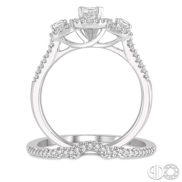 1 Ctw Diamond Wedding Set With 7/8 Ctw Triple Oval Shape Engagement Ring and 1/10 Ctw Wedding Band in 14K White Gold Image 3 Trinity Diamonds Inc. Tucson, AZ