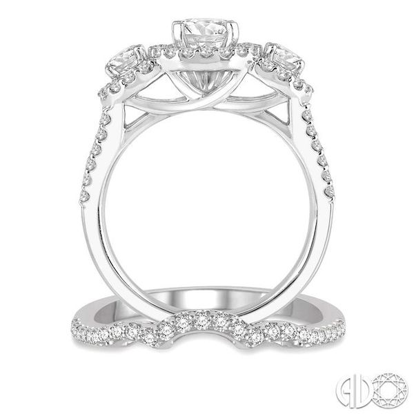 1 3/4 Ctw Diamond Wedding Set With 1 1/2 Ctw Round Triple Mount Engagement Ring and 1/5 Ctw Curved Center Wedding Band in 14K Wh Image 3 Trinity Diamonds Inc. Tucson, AZ