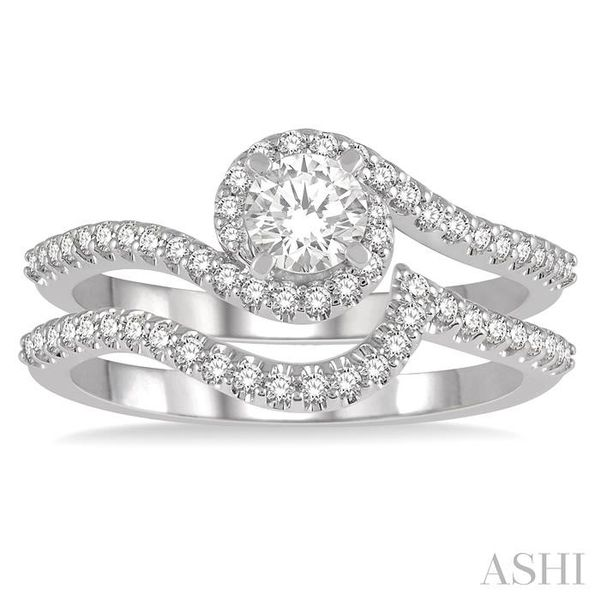 5/8 Ctw Diamond Wedding Set With 1/2 Ctw Embraced Round Shape Engagement Ring and 1/6 Ctw Crescent Shape Wedding Band in 14K Whi Image 2 Trinity Diamonds Inc. Tucson, AZ