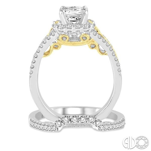 1 1/4 Ctw Diamond Wedding Set with 1 Ctw Princess Cut Engagement Ring and 1/4 Ctw Wedding Band in 14K White and Yellow Gold Image 3 Trinity Diamonds Inc. Tucson, AZ