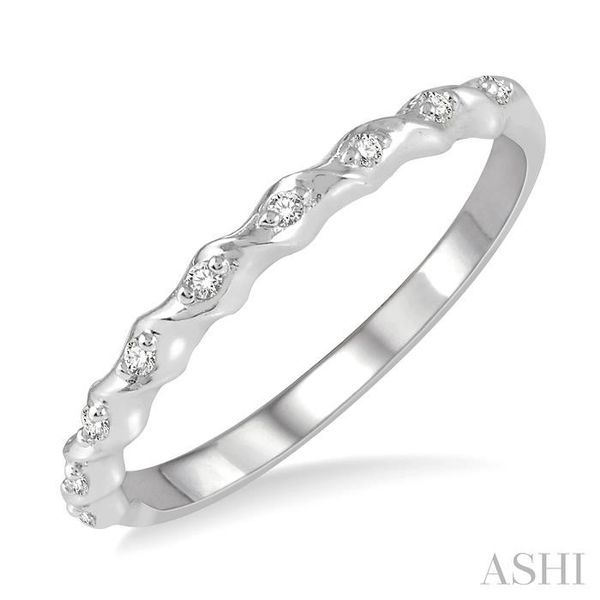 1/20 ctw Spiral Shank Round Cut Diamond Stackable Band in 14K White Gold Trinity Diamonds Inc. Tucson, AZ