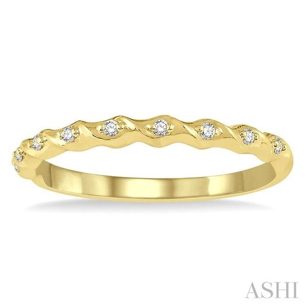 1/20 ctw Spiral Shank Round Cut Diamond Stackable Band in 14K Yellow Gold Image 2 Trinity Diamonds Inc. Tucson, AZ