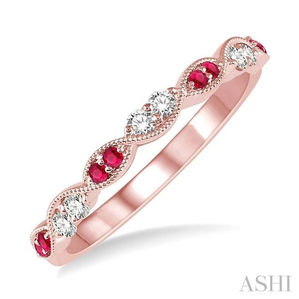 1.25 MM Round Cut Ruby and 1/6 Ctw Round Cut Diamond Half Eternity Wedding Band in 14K Rose Gold Trinity Diamonds Inc. Tucson, AZ