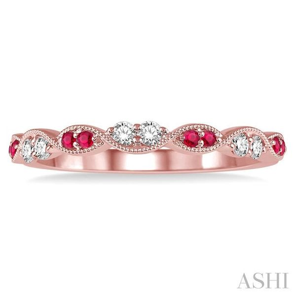 1.25 MM Round Cut Ruby and 1/6 Ctw Round Cut Diamond Half Eternity Wedding Band in 14K Rose Gold Image 2 Trinity Diamonds Inc. Tucson, AZ