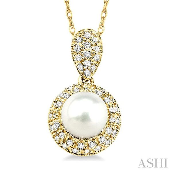 6.5 mm Cultured Pearl and 1/4 Ctw Single Cut Diamond Pendant in 14K Yellow Gold with Chain Trinity Diamonds Inc. Tucson, AZ