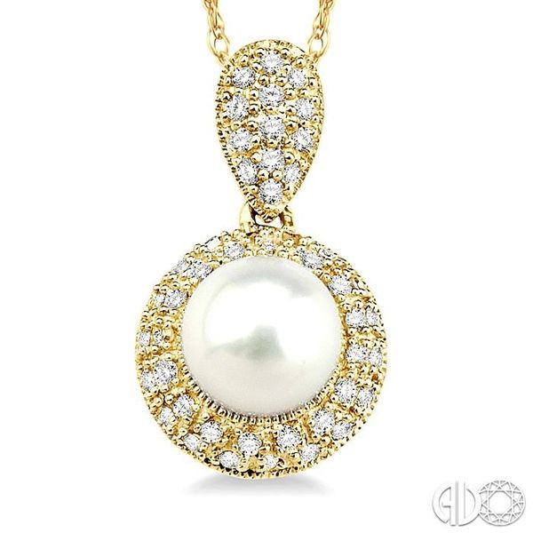 6.5 mm Cultured Pearl and 1/4 Ctw Single Cut Diamond Pendant in 14K Yellow Gold with Chain Image 3 Trinity Diamonds Inc. Tucson, AZ
