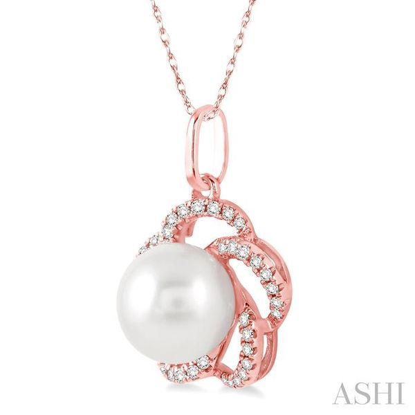 7x7 MM Cultured Pearl and 1/8 Ctw Round Cut Diamond Pendant in 14K Rose Gold with Chain Image 2 Trinity Diamonds Inc. Tucson, AZ
