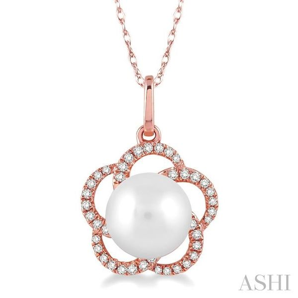 7x7 MM Cultured Pearl and 1/8 Ctw Round Cut Diamond Pendant in 14K Rose Gold with Chain Trinity Diamonds Inc. Tucson, AZ