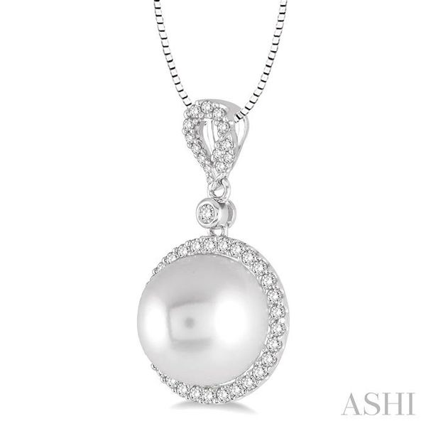 12x12 MM White Cultured Pearl and 3/8 Ctw Round Cut Diamond Pendant in 14K White Gold with chain Image 2 Trinity Diamonds Inc. Tucson, AZ