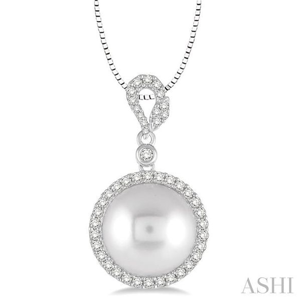 12x12 MM White Cultured Pearl and 3/8 Ctw Round Cut Diamond Pendant in 14K White Gold with chain Trinity Diamonds Inc. Tucson, AZ