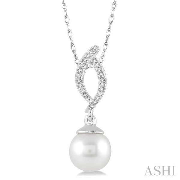 7x7 MM Round Cut Cultured Pearl and 1/20 Ctw Round Cut Diamond Pendant in 10K White Gold with Chain Trinity Diamonds Inc. Tucson, AZ