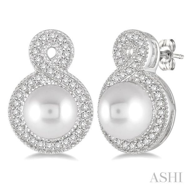 6x6 MM Cultured Pearl and 1/4 Ctw Round Cut Diamond Fancy Earrings in 10K White Gold Trinity Diamonds Inc. Tucson, AZ