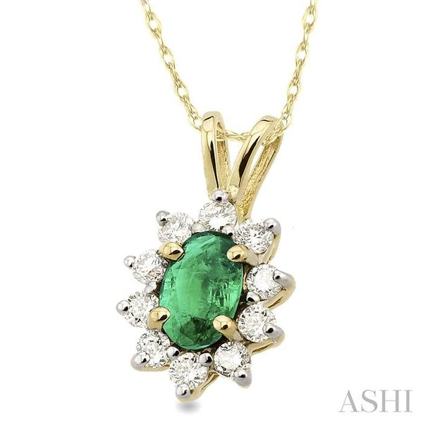 6x4MM Oval Cut Emerald and 1/4 Ctw Round Cut Diamond Pendant in 14K Yellow Gold with Chain Image 2 Trinity Diamonds Inc. Tucson, AZ
