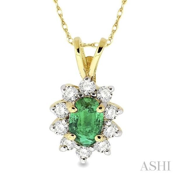 6x4MM Oval Cut Emerald and 1/4 Ctw Round Cut Diamond Pendant in 14K Yellow Gold with Chain Trinity Diamonds Inc. Tucson, AZ