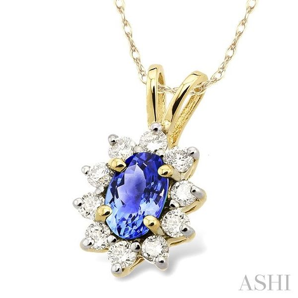 6x4MM Oval Cut Tanzanite and 1/4 Ctw Round Cut Diamond Pendant in 14K Yellow Gold with Chain Image 2 Trinity Diamonds Inc. Tucson, AZ