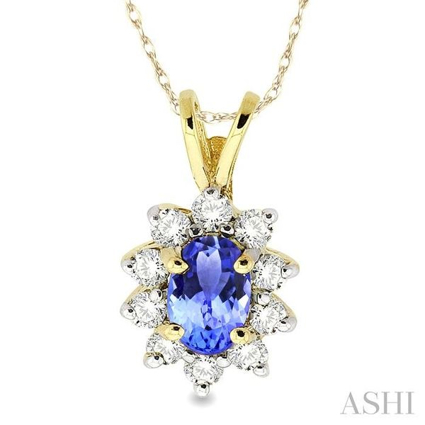 6x4MM Oval Cut Tanzanite and 1/4 Ctw Round Cut Diamond Pendant in 14K Yellow Gold with Chain Trinity Diamonds Inc. Tucson, AZ