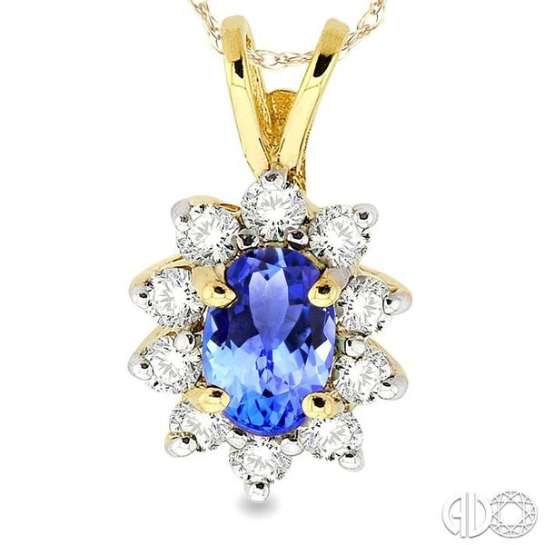 6x4MM Oval Cut Tanzanite and 1/4 Ctw Round Cut Diamond Pendant in 14K Yellow Gold with Chain Image 3 Trinity Diamonds Inc. Tucson, AZ