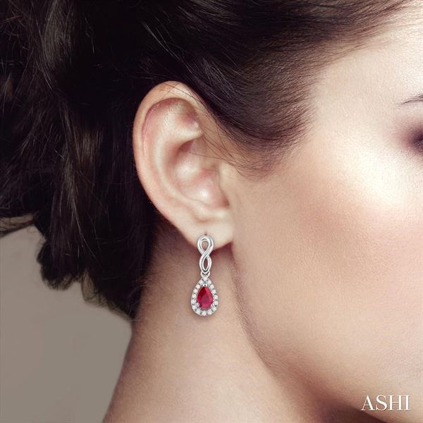 5x3 MM Pear Shape Ruby and 1/6 Ctw Round Cut Diamond Earrings in 14K White Gold Image 4 Trinity Diamonds Inc. Tucson, AZ