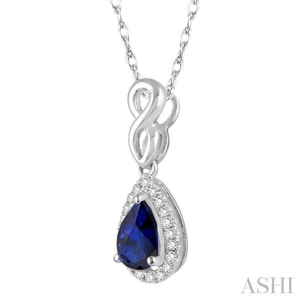 6x4 MM Pear Shape Sapphire and 1/10 Ctw Round Cut Diamond Pendant in 14K White Gold with Chain Image 2 Trinity Diamonds Inc. Tucson, AZ