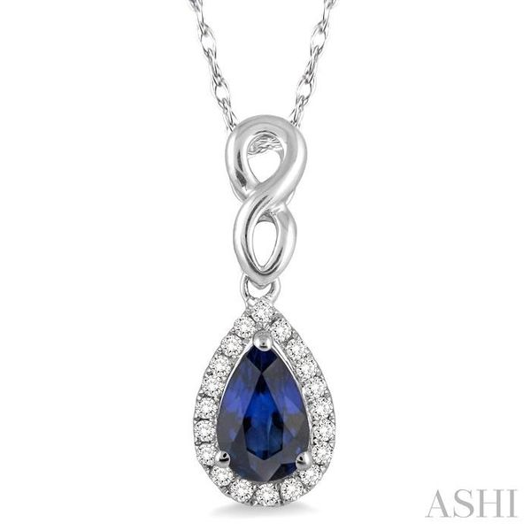 6x4 MM Pear Shape Sapphire and 1/10 Ctw Round Cut Diamond Pendant in 14K White Gold with Chain Trinity Diamonds Inc. Tucson, AZ