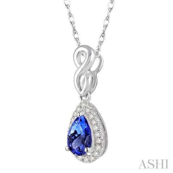 6x4 MM Pear Shape Tanzanite and 1/10 Ctw Round Cut Diamond Pendant in 14K White Gold with Chain Image 2 Trinity Diamonds Inc. Tucson, AZ