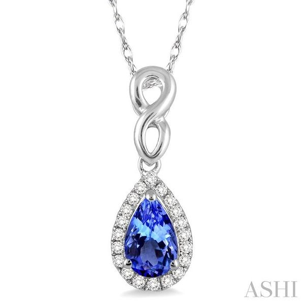 6x4 MM Pear Shape Tanzanite and 1/10 Ctw Round Cut Diamond Pendant in 14K White Gold with Chain Trinity Diamonds Inc. Tucson, AZ