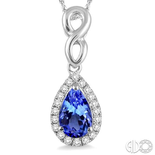 6x4 MM Pear Shape Tanzanite and 1/10 Ctw Round Cut Diamond Pendant in 14K White Gold with Chain Image 3 Trinity Diamonds Inc. Tucson, AZ