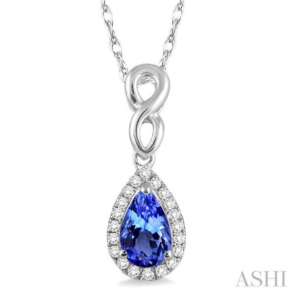 6x4 MM Pear Shape Tanzanite and 1/10 Ctw Round Cut Diamond Pendant in 10K White Gold with Chain Trinity Diamonds Inc. Tucson, AZ
