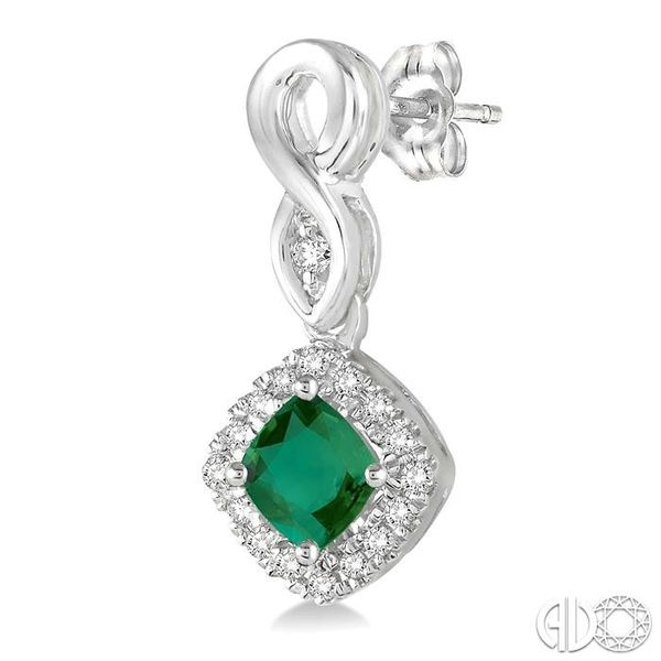 4x4 MM Cushion Cut Emerald and 1/5 Ctw Round Cut Diamond Earrings in 14K White Gold Image 3 Trinity Diamonds Inc. Tucson, AZ