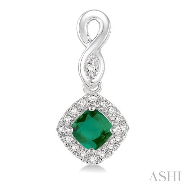 4x4 MM Cushion Cut Emerald and 1/5 Ctw Round Cut Diamond Earrings in 14K White Gold Image 2 Trinity Diamonds Inc. Tucson, AZ
