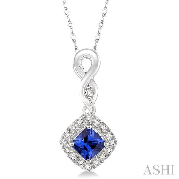 4x4 MM Cushion Cut Sapphire and 1/10 Ctw Round Cut Diamond Pendant in 14K White Gold with Chain Trinity Diamonds Inc. Tucson, AZ