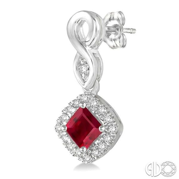 4x4 MM Cushion Cut Ruby and 1/5 Ctw Round Cut Diamond Earrings in 10K White Gold Image 3 Trinity Diamonds Inc. Tucson, AZ