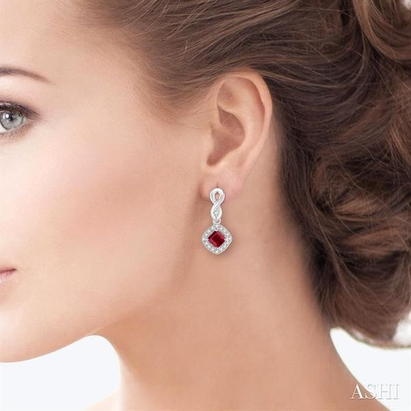 4x4 MM Cushion Cut Ruby and 1/5 Ctw Round Cut Diamond Earrings in 10K White Gold Image 4 Trinity Diamonds Inc. Tucson, AZ