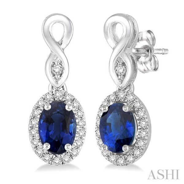 5x3 MM Oval Cut Sapphire and 1/6 Ctw Round Cut Diamond Earrings in 14K White Gold Trinity Diamonds Inc. Tucson, AZ