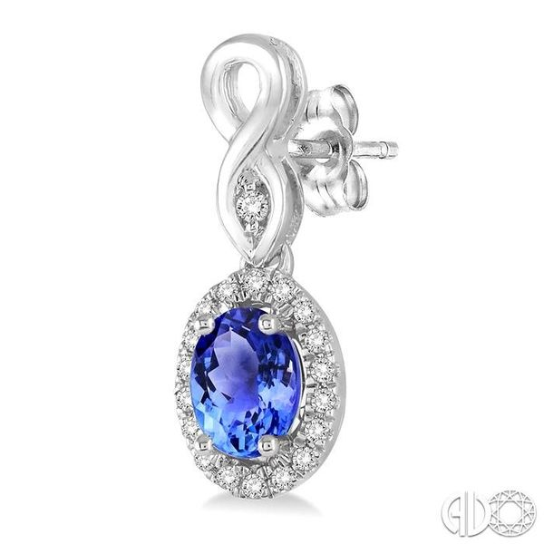 5x3 MM Oval Cut Tanzanite and 1/6 Ctw Round Cut Diamond Earrings in 14K White Gold Image 3 Trinity Diamonds Inc. Tucson, AZ