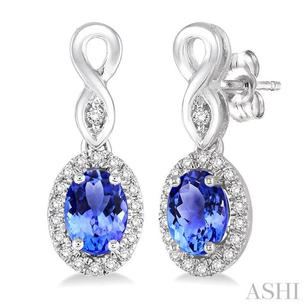 5x3 MM Oval Cut Tanzanite and 1/6 Ctw Round Cut Diamond Earrings in 14K White Gold Trinity Diamonds Inc. Tucson, AZ
